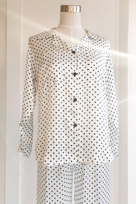 Salua Silk Pajama - White-Black Polka Dots