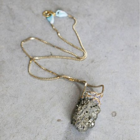 Adina Mills Small Pyrite Pendant Necklace on Brass Chain