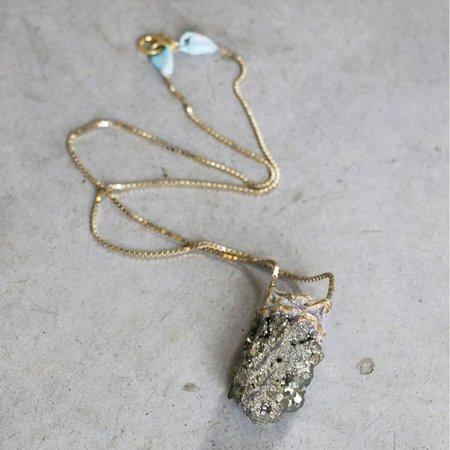 Adina Mills Small Pyrite Pendant Necklace on Brass Chain