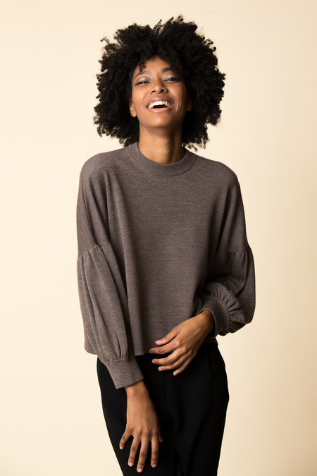 Tibi Puff Sleeve Pullover - Brown