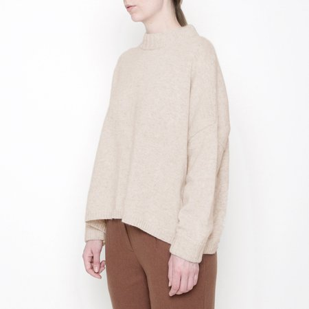 7115 by Szeki Classic Crewneck Sweater - Oatmeal