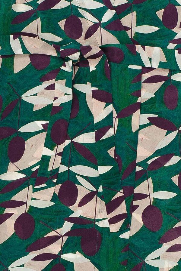 Samuji MADRONA Coat  in Dark Green Light Pink Purple White Print