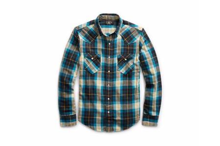 RRL Buffalo Cotton Western Shirt - Teal Grey