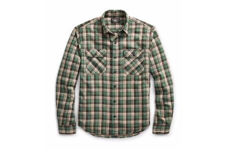 RRL Matlock Plaid Cotton Work Shirt - Green Multi