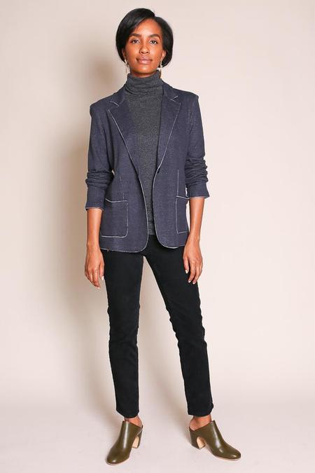 Majestic Double Face Blazer in Marine/Flanelle