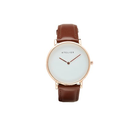 Atelier Canvas Watch - Rose Gold + Brown Leather