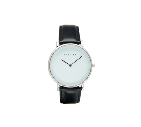 Atelier Canvas Watch - Silver + Black Leather