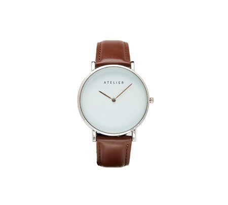 Atelier Canvas Watch -  Silver + Brown Leather