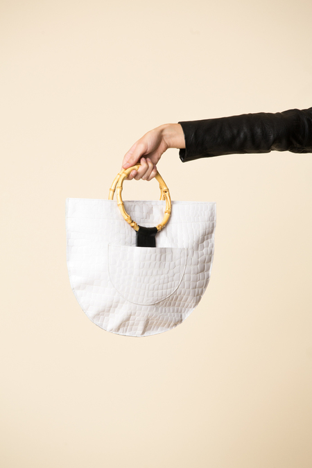 VEDA Medium Half Moon Bag - White