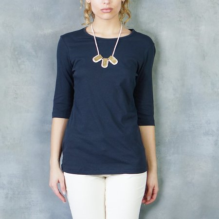 Organic by John Patrick Elbow Sleeve Crew Tee - Navy