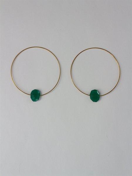 Melissa McArthur Green Onyx Hoop Earrings
