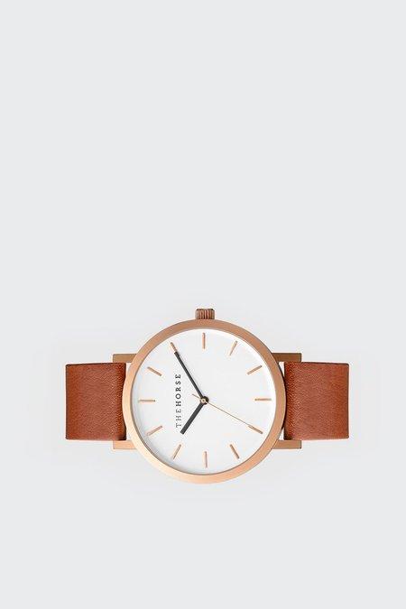 The Horse Original Watch - brushed rose/walnut leather
