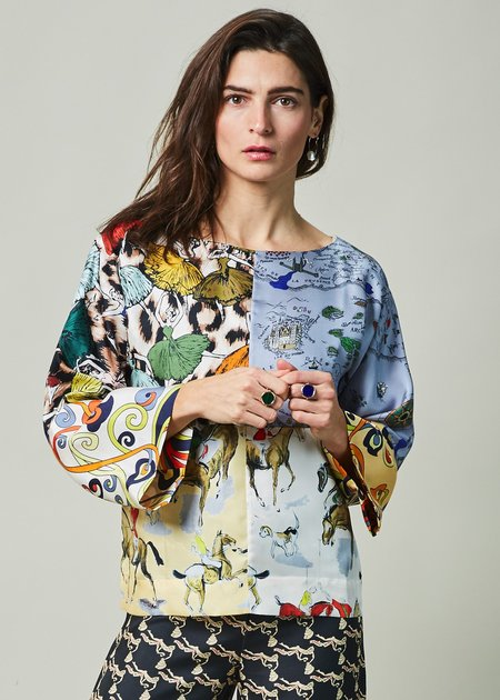La Prestic Ouiston Julie Patchwork Silk Top