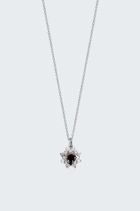 Meadowlark Protea Charm Necklace with Stone - Silver/Thai Garnet