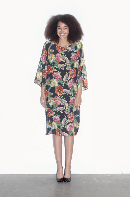 Strathcona Black Watercolour Bouquet Tunic Dress