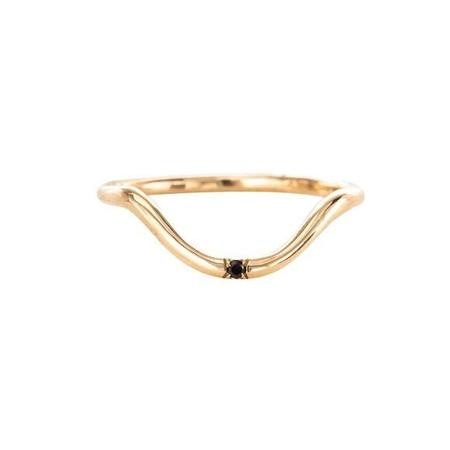 Mociun Curved Band One Diamond Ring