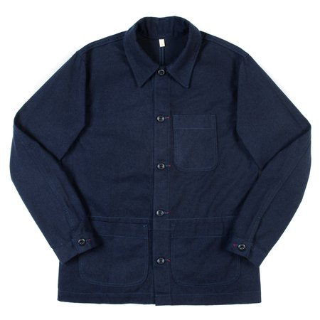 Raleigh Denim Workshop Chore Coat - Navy Brushed Twill