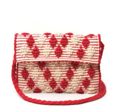 Antonello Red and Cream Suni Rombetti Clutch With Strap