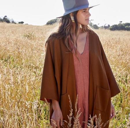 Rachel Craven Textiles Long Kimono Jacket - Bark Wool