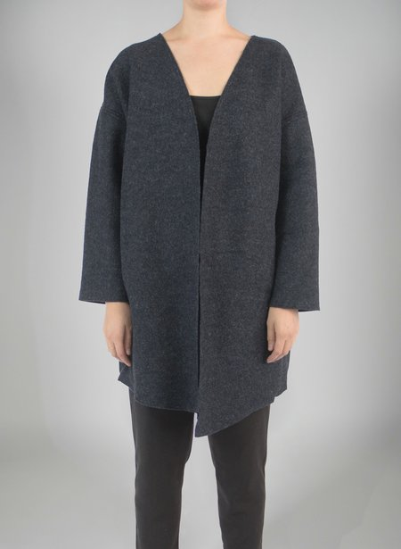 Priory Shop Ura Coat - Speckled Navy Boiled Wool
