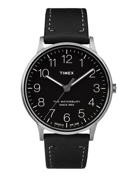 Timex Waterbury Heritage Watch - Chrome Black Black