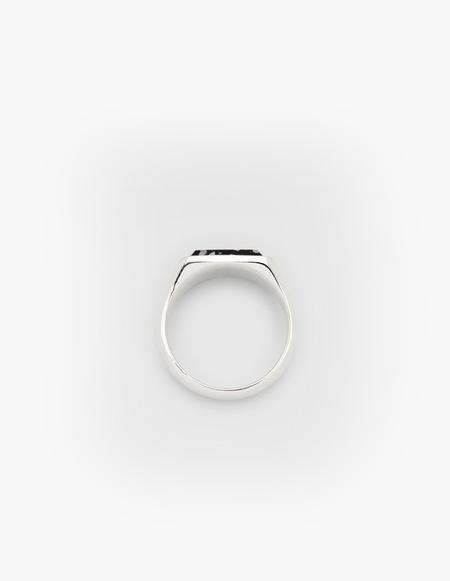Tom Wood Cushion Zebra Marble Ring - Silver
