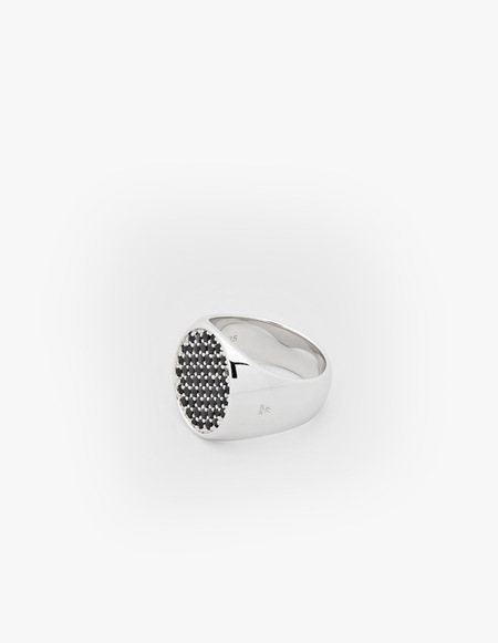Tom Wood Pinkie Cushion Black Spinal Ring - Silver