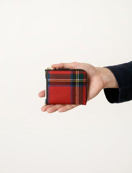 Comme des Garçons Red Tartan Patchwork 3/4 Zip Wallet - SA3100TP