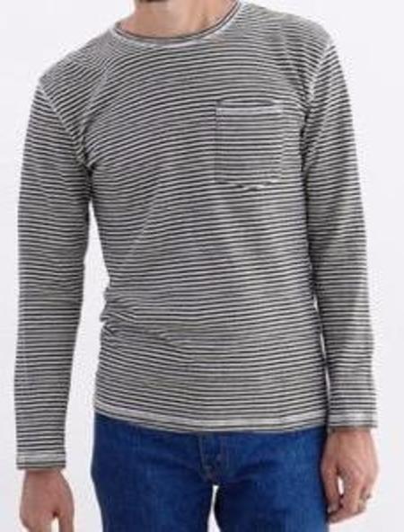 Jungmaven Yarn Dyed Long Sleeve Tee - Navy Stripe