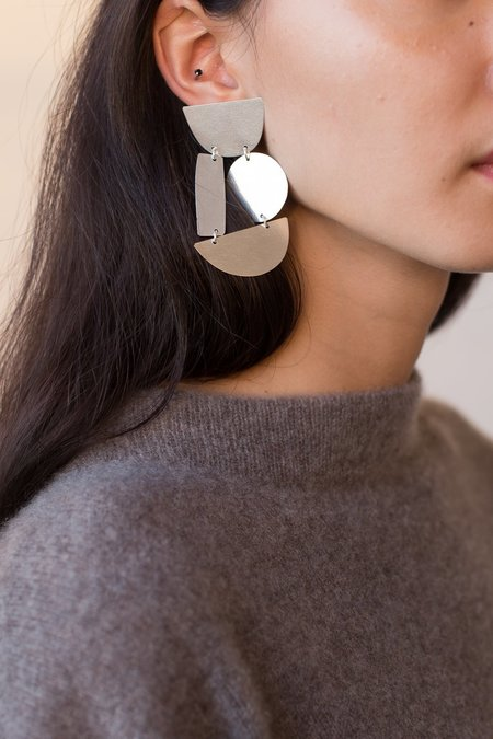 Annie Costello Brown Masha Earrings in Silver