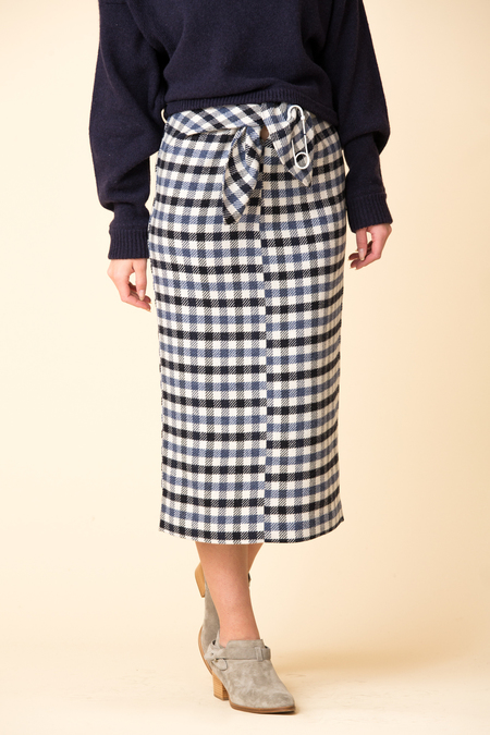 Tibi Fairfax Gingham Tie Skirt