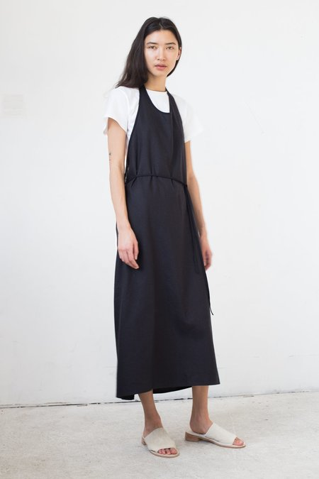 Baserange Apron Dress in Black Raw Silk