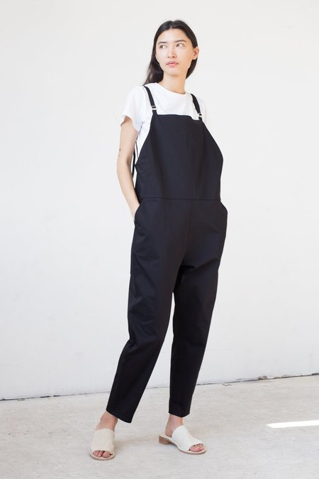 Baserange Long Strap Overall in Black Canvas