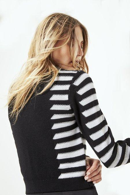 Mila Zovko Natalia Cropped Sweater in Black/Silver