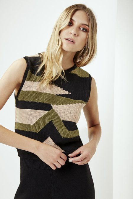 Mila Zovko Nives Knitted Vest in Black/Oatmeal/Olive