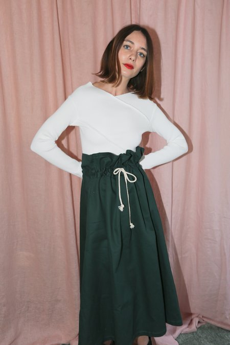 Desiree Klein Oriole Skirt in Green Twill