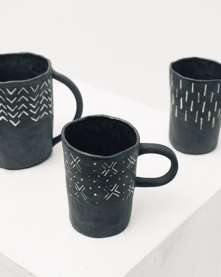 Ayame Bullock Black Mudcloth Mugs