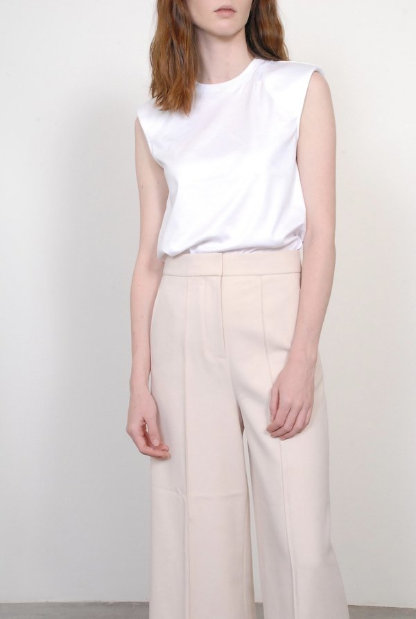 Tibi Mercerized Knit Padded Shoulder Top - White