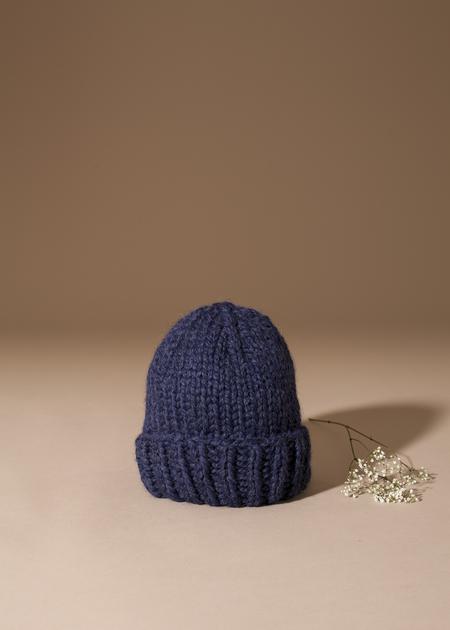 Tsuyumi Baby Alpaca Knit Folded Hat - navy