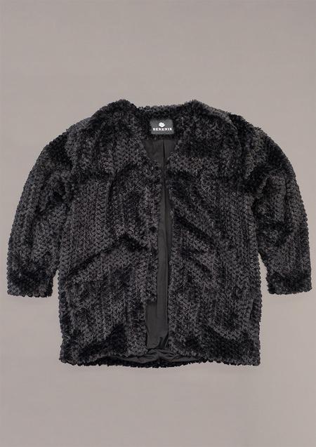 Berenik Cardigan Faux Rhomb Fur - Black