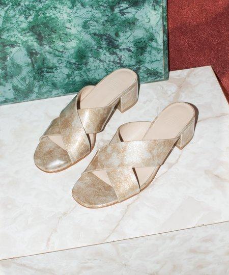 Maryam Nassir Zadeh Lauren Gold Glitter Slide