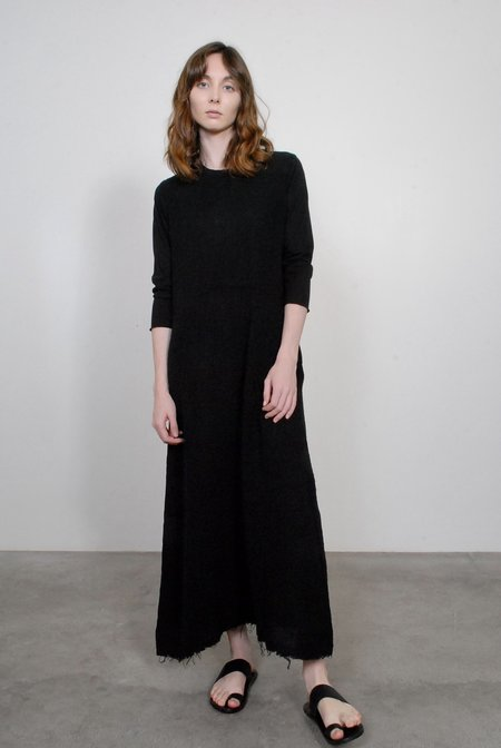 Raquel Allegra Gauze and Sueded Baby Jersey Maxi Dress - Black