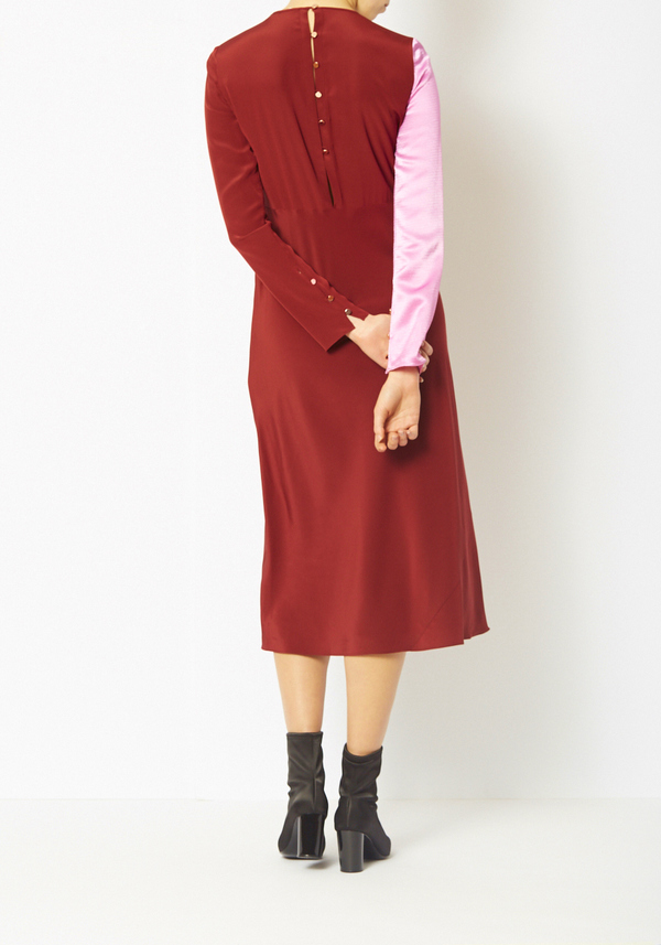 Tibi Colorblock Silk Sleeve Dress