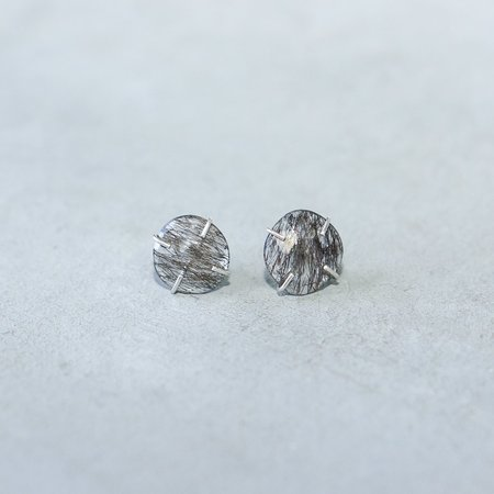 Melissa Joy Manning Limited Edition Sterling Silver Tourmalated Quartz Post Earring