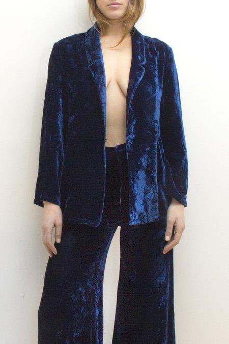 Colorant Silk Velvet Blazer - Indigo