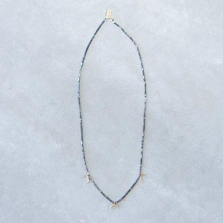 IL Design Hematite Three Mini Crescent Brass Moon Necklace