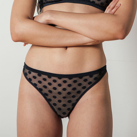 Land of Women Dot Thong in Black