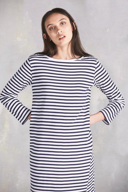 Kowtow Building Block Boat Neck Dress - Blue/White Stripe