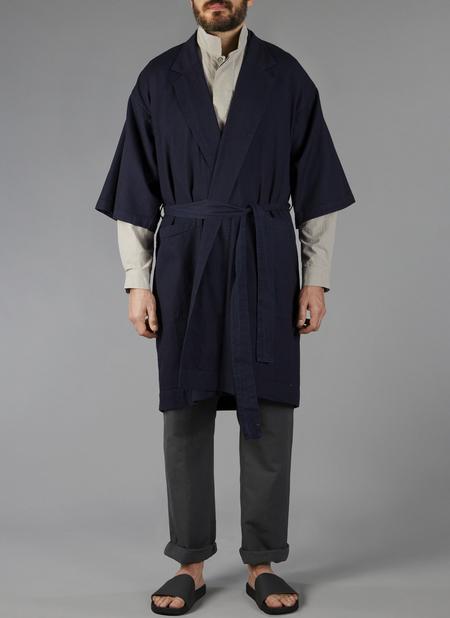 Grei Denim Indoor-Outdoor Robe In Indigo Herringbone Denim