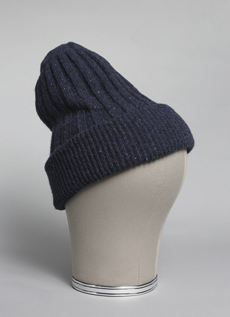 GREI. Donegal Mohair/Angora/Merino Oversized Doublesided Beanie In Midnight Blue